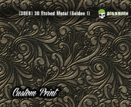 Custom Printed Design 3D Etched Metal Hydrographics Print Dip Film Big Brain Graphics Golden 1 3DE8