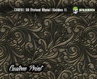 Custom Printed Design 3D Etched Metal Hydrographics Print Dip Film Big Brain Graphics Golden 1 3DE8