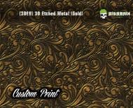 Custom Printed Design 3D Etched Metal Hydrographics Print Dip Film Big Brain Graphics (3) Brushed Metal 2 Gold