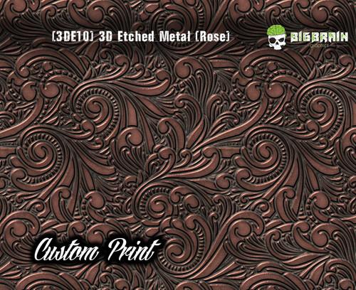 Custom Printed Design 3D Etched Metal Hydrographics Print Dip Film Big Brain Graphics (10) Brushed Metal 2 Rose Gold