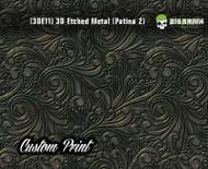 Custom Printed Design 3D Etched Metal Hydrographics Print Dip Film Big Brain Graphics (11) Brushed Bronze Patina 2