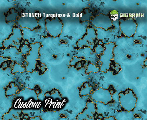 Turquoise and Gold Stone Mineral Custom Film Print Big Brain Graphics Hydrographics Film Trusted USA Seller