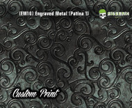 Etched Metal Patina 1 Custom Printed Design 3D Detail (EM10) Metal Hydrographics Print Dip Film Big Brain Graphics Brushed Bricks Metal