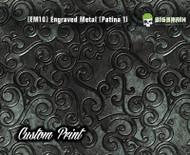 Etched Metal Patina 1 Custom Printed Design 3D Detail (EM10) Metal Hydrographics Print Dip Film Big Brain Graphics Brushed Bricks Metal