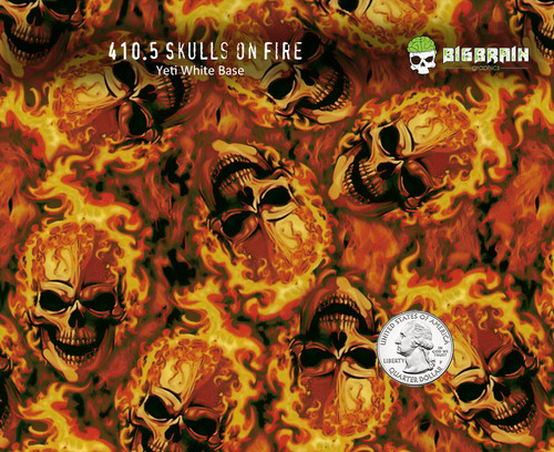 Skulls on Fire Skull Flaming Flames Blazing Fired Hydrographics Pattern Dip Big Brain Graphics USA Seller Yeti White Base Quarter Reference