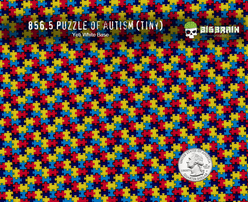 Autism Puzzle Pieces Autistic Hydrographics Hydrographic Dip Film Pattern Awareness Big Brain Graphics Yeti White Base Quarter Reference