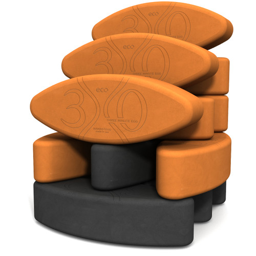 Biodegradable foam yoga block set Teacher's Dozen Yin Yang ECO by Three Minute Egg ® in color Orange and Charcoal Gray