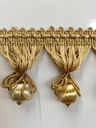 """2.25"""" TASSEL FRINGE -55/12       ANTIQUE GOLD & BEIGE"""