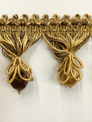 "2.25"" TASSEL FRINGE -55/8-12      BROWN & ANTIQUE GOLD"