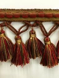 "3.5"" TASSEL FRINGE -56/33-7-17     BURGUNDY,LIGHT BROWN & LODEN GREEN"
