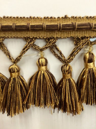 "3.5"" TASSEL FRINGE -56/8-12      BROWN & ANTIQUE GOLD"