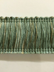 "2"" BRUSH FRINGE-2/39-3      AQUA BLUE & BEIGE"