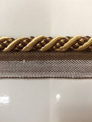 "3/8"" ROUND CORD EDGE WITH LIP-3/8-12       (Brown & Gold)"