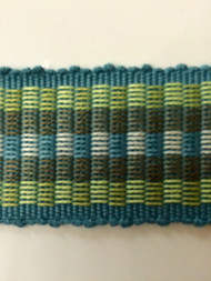 "1.5"" COTTON GIMP HEADER BRAID-5/44-13-2         TURQUOISE BLUE,MINT GREEN & CREAM"