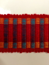 "1.5"" COTTON GIMP HEADER BRAID-5/44-30-49        TURQUOISE BLUE,RED & AMBER"