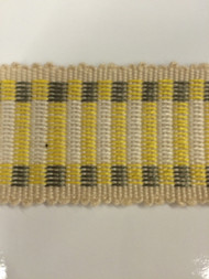 "1.5"" COTTON GIMP HEADER BRAID-5/2-10-37         CREAM,YELLOW & GREY"