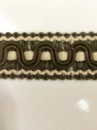 "7/8"" COTTON GIMP HEADER-59/2-17       CREAM & LODEN GREEN"