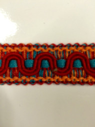 "7/8"" COTTON GIMP HEADER-59/44-30-49        TURQUOISE BLUE,RED & AMBER"