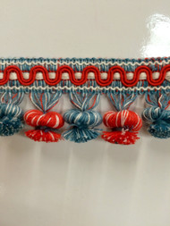 "2"" COTTON TASSEL FRINGE-19/1-30-44      WHITE,RED TURQUOISE  BLUE"