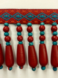 "2"" WOOD BEADED TASSEL FRINGE-61/44-30-49   TURQUOISE,RED & AMBER"