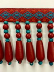 "2"" WOOD BEADED TASSEL FRINGE-61/44-30-49   TURQUOISE,RED & AMBER"