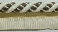 "3/8"" LINEN  ROUND CORD EDGE WITH LIP-2-L/2-8   OFF WHITE & BROWN"