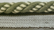 "3/8"" COTTON ROUND CORD EDGE CE-3/2-17          CREAM & LODEN GREEN"