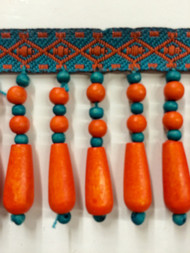 "2"" WOOD BEADED TASSEL FRINGE-61/1-30-44      ORANGE & TURQUOISE BLUE"