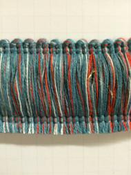 """2"""" COTTON BRUSH FRINGE-2/1-30-44     WHITE,RED & TURQUOISE BLUE"""
