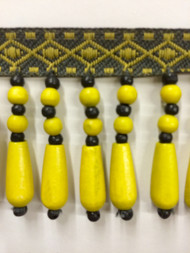 "2"" WOOD BEADED TASSEL FRINGE-61/2-10-37   YELLOW & DARK GREY"