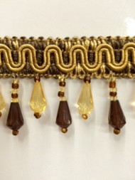"1.5"" CRYSTAL BEADED TASSEL FRINGE-57/8-12             BROWN & GOLD"