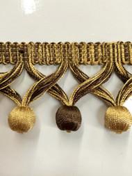 """2"""" TASSEL FRINGE-59/8-12           BROWN & ANTIQUE GOLD"""