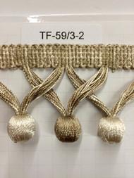 """2"""" TASSEL FRINGE-59/3-2          OFF WHITE & BEIGE"""