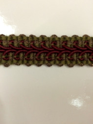 "5/8"" GIMP HEADER-14/17-33                   LODEN GREEN & BURGUNDY"