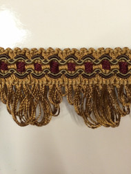 "1 3/8"" GIMP HEADER-68/33-7-17            BURGUNDY,LIGHT BROWN & LODEN GREEN"