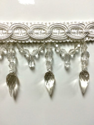 "4"" CRYSTAL BEADED TASSEL FRINGE-32/1      WHITE"