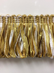 "2 1/8"" Fancy Loop Ribbon Fringe Trim  LPF-2/11-12-2 (Gold & Creamy White)"