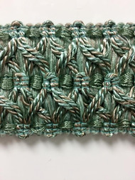 "2.25"" Fancy Gimp Header Tape  H-70/39-4  (Green & Taupe)"
