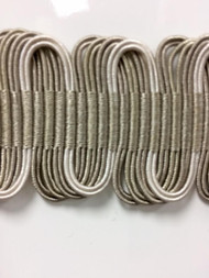 "1 5/8"" Fancy Gimp Header  H-69/4-2  (Taupe & Creamy White)"