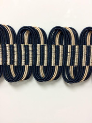 "1 5/8"" Fancy Gimp Header  H-69/46-4   (Navy & Taupe)"