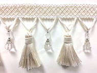 "4 1/4"" Fancy Crystal Tassel Fringe TF-69/1-2  Creamy White"