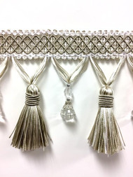 "4 1/4"" Fancy Crystal Tassel Fringe TF-69/4-2  (Taupe & Creamy White)"