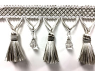 "4 1/4"" Fancy Crystal Tassel Fringe TF-69/50-2 ( Silver & Creamy White)"