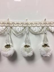"TF-69////4-2 taupe /& creamy white 4 1//4/"" Crystal Beaded Tassel Fringe"