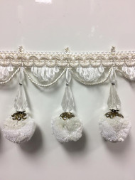 "3.75"" French Pom Pom Crystal Tassel Fringe Trim TF-68/1-2 (Creamy White)"