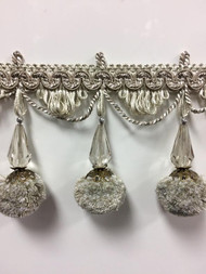 "3.75"" French Pom Pom Crystal Tassel Fringe Trim TF-68/4-2 (Dark Sage & Creamy White)"
