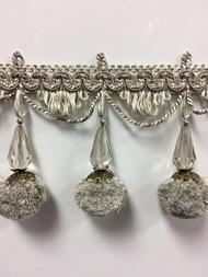 """3.75"""" French Pom Pom Crystal Tassel Fringe Trim TF-68/4-2 (Dark Sage & Creamy White)"""