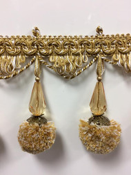"3.75"" French Pom Pom Crystal Tassel Fringe Trim TF-68/11-12-2 (Gold & Creamy White)"