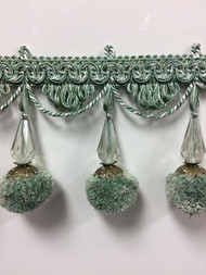 "3.75"" French Pom Pom Crystal Tassel Fringe Trim TF-68/39-4 (Green & Creamy White)"