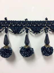 "3.75"" French Pom Pom Crystal Tassel Fringe Trim TF-68/46-4 (Navy & Beige)"